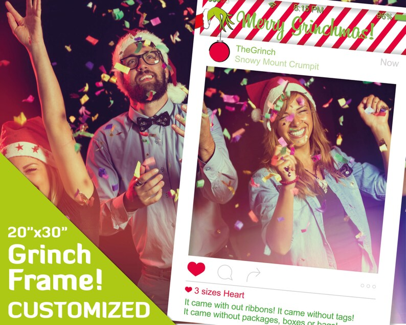 The Grinch Decorations Grinch Party Supplies Merry Grinchmas Holiday Photobooth Props Customised Photo Booth 20x30 Pdf Instagram Frame