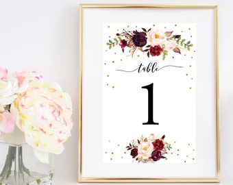 Printable table numbers 1-20, Boho Floral Watercolor Table Number, Marsala Wedding, Fall Autumn Wedding, 4x6 Instant Download - Vera | Kylie