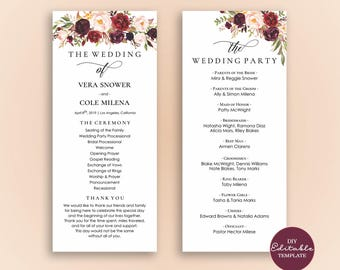 Editable Wedding Program Template, Order Of Ceremony Template, Printable Wedding Programs Instant Download, Marsala Burgundy Blush - Vera