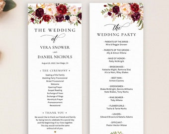 Editable Wedding Program Template, Order Of Ceremony Template, Printable Wedding Programs Instant Download, Marsala Burgundy Blush - IAV-021