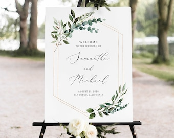 Eucalyptus Wedding Signage Large Welcome Wedding Sign Wedding Welcome Sign Greenery Wedding Icons Welcome To Our Wedding Sign