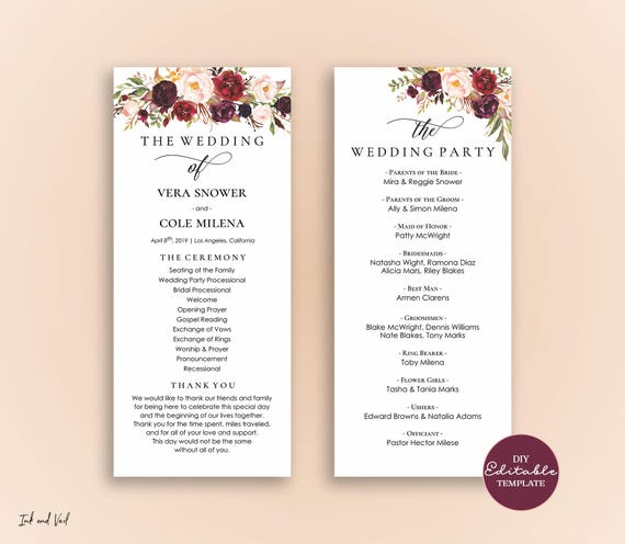 editable wedding program template order of ceremony template