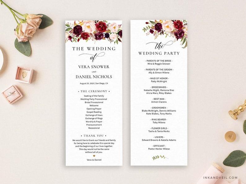 Editable Wedding Program Template Order Of Ceremony Template image 1