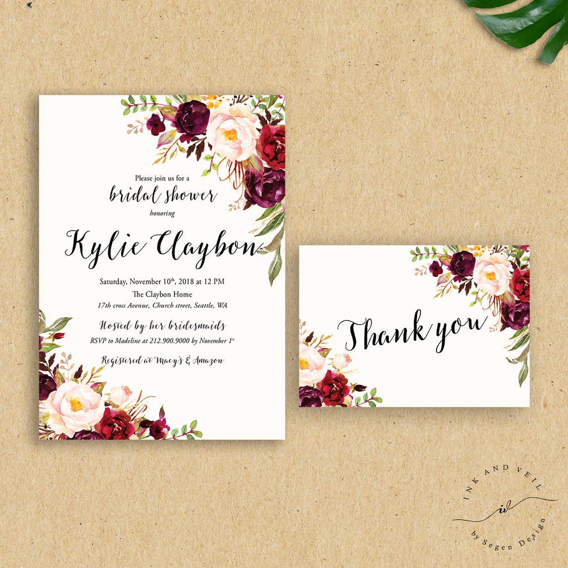 Fall Floral Bridal Shower Invitation Autumn Bridal Shower