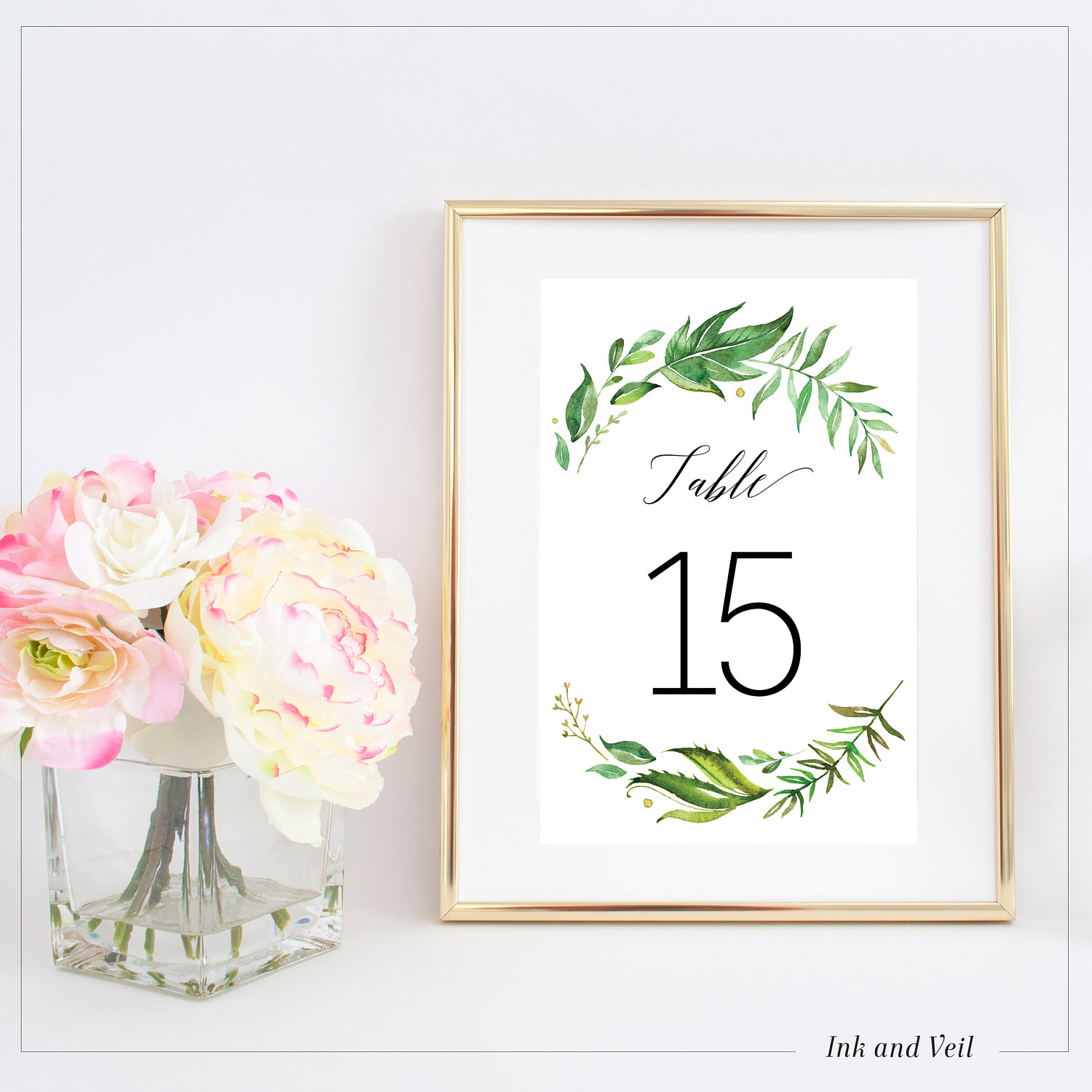 1-20 Printable table numbers Greenery Leaves Table Number ...