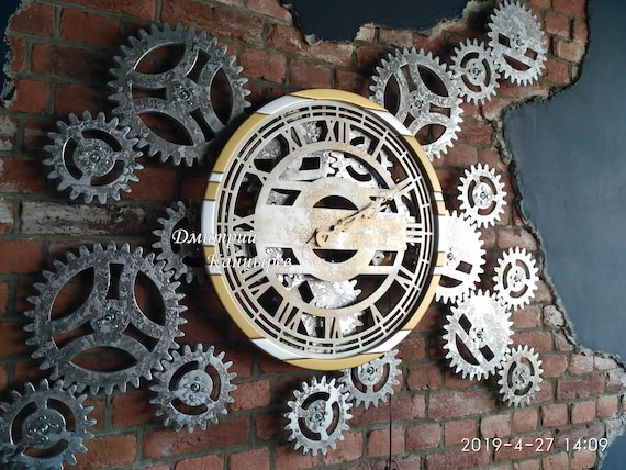 Large Wall Clock With Rotating Gears Huge Steampunk Metal Etsy