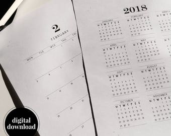 2018 Yearly and Monthly Calendars