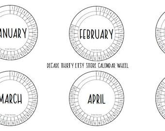 Decade Thirty Calendar Wheel BLANK Size 6cm