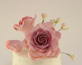 Rose Bouquet Handmade Edible Wedding Cake Flowers Toppersedible Decorations Sugar Fondant Gumpaste