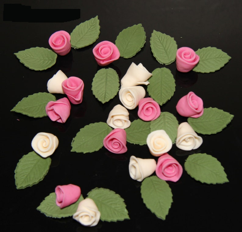100 edible sugar paste fondant tiny roses cake cupcake toppers decorations pink