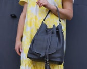 Gray leather bucket bag 3 in 1, leather shoulder bag with pockets, handbag made by KULIK, gift for her