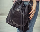 Leather bucket bag, black bucket bag, leather shoulder bag, leather bag, leather backpack, leather purse, leather crossbody bags, BLACK