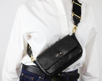 Leather belt bag, bum bag, python leather bum bag, waist bag, woman leather hip bag, crocodile leather hip bag,  festival belt for her