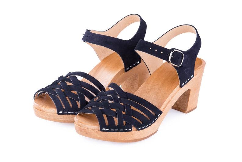 bf00b1046603 Navy blue clogs Sandals clogs Wooden clogs Swedish clogs