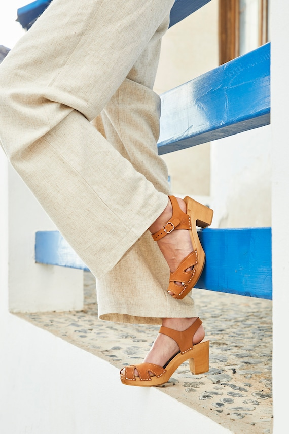 54c82939aa99c Beige Swedish Clogs with straps, leather barefoot sandals made by  Kulikstyle, Nude clog sandals