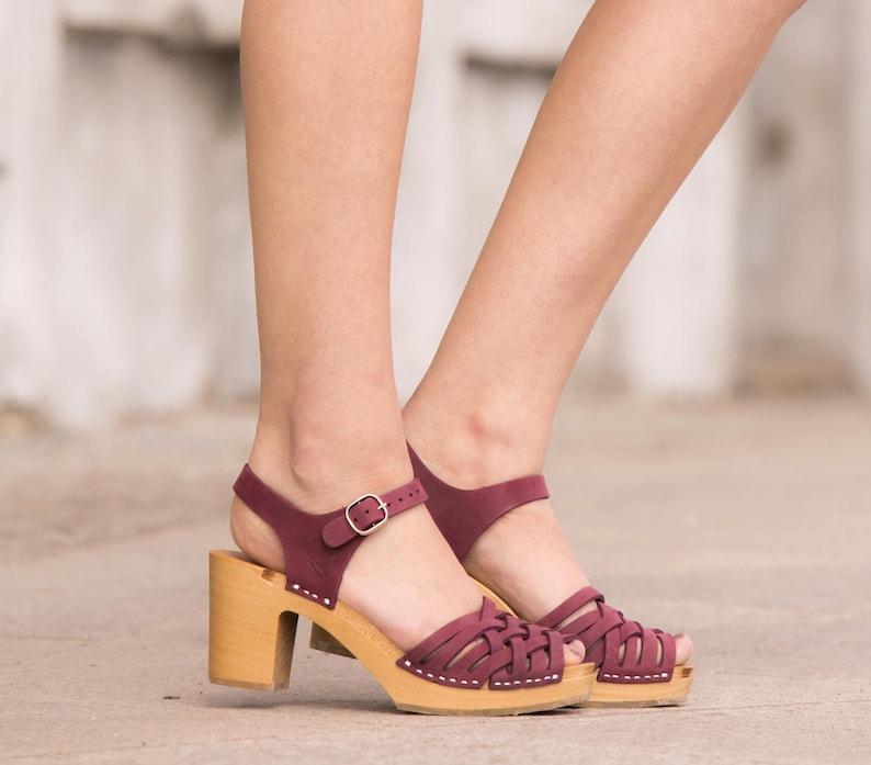 Purple leather clog sandals handmade