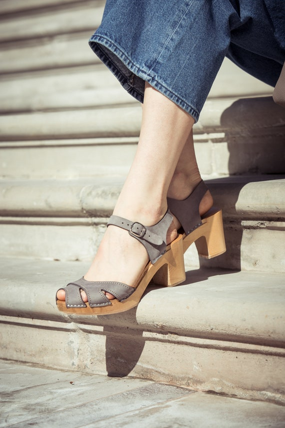 wooden clogs women clogs leather shoes Swedish Clogs high heel clogs GRAY Leather clogs by Kulikstyle boho sandals clog sandals