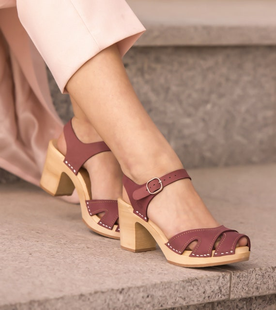 Leather Clogs By Kulikstyle Swedish Clogs Pink Shoes Wooden Sandals Clog Sandals Women Clogs