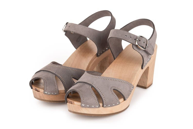 2f2fa037ea54c Paris gray clogs by Kulikstyle   Swedish Clogs for woman   High heel clog  shoes   leather clog sandals   wooden clogs   Gray tulip