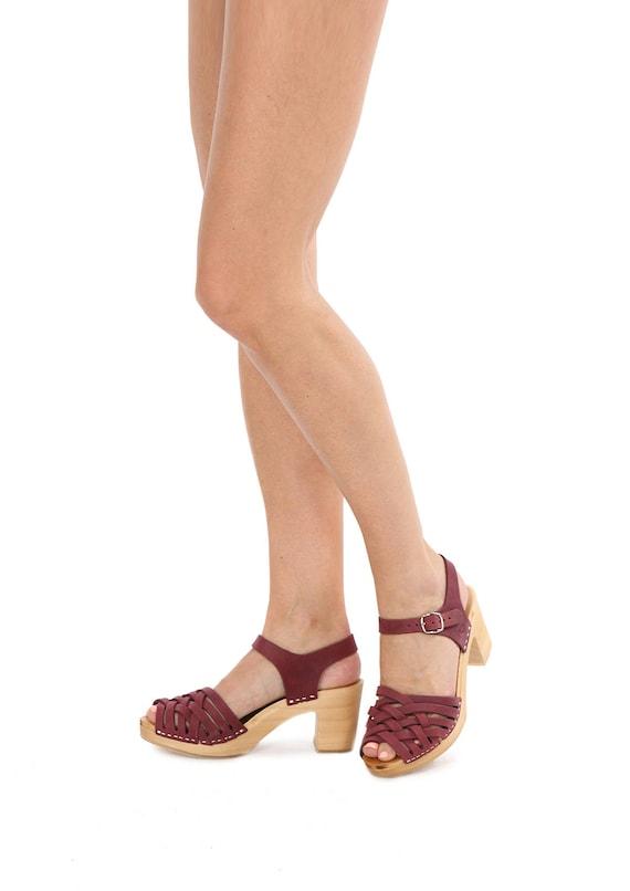 sandals Sandals purple sweden leather sandal clog Clog sandalen PINK DEEP Deep Kulikstyle Swedish clog Clogs clog Y8q4zdx