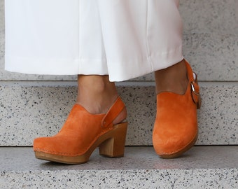 Leather clogs by Kulikstyle   Swedish clogs   orange leather shoes   wooden platform shoes   women clogs