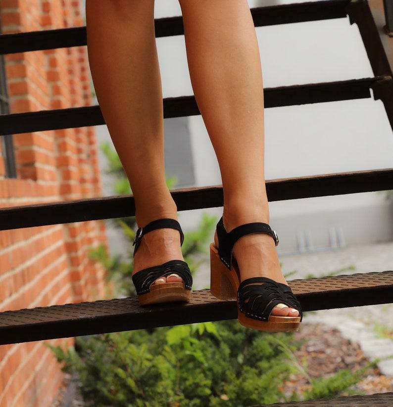 3b1107781c245 Leather clogs by Kulikstyle, black clog sandals, clog, Swedish Clogs , high  heel sandals, woman summer shoe, boho clogs, wooden clogs