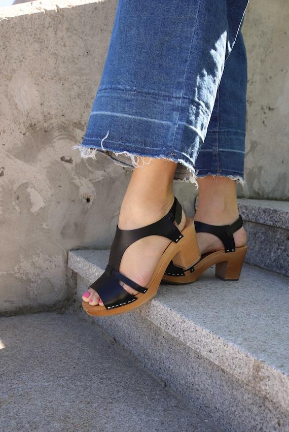 Swedish KulikstyleBarefoot Boho Handmade Leather SandalsBlack By Clogs ClogsWooden Sandals tCsQrdhx