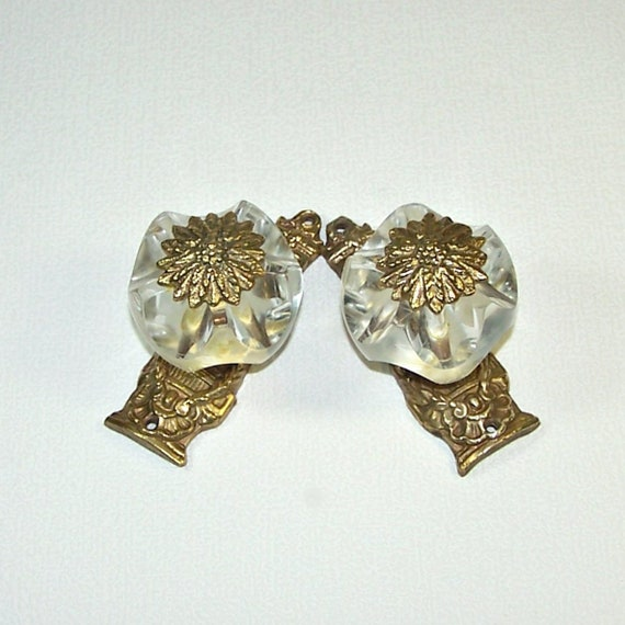 A Pair Of Vintage Door Handles. Bronze Door Pulls With Acrylic Glass  Handles. Crystal Door Knobs. Antique Door Hardware Made In USSR.
