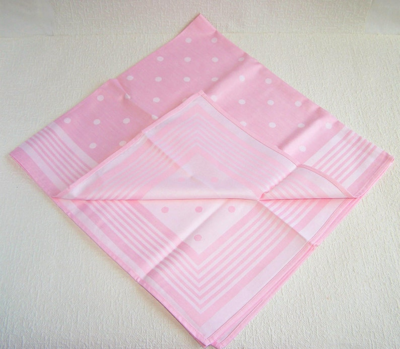 Square Table Runner. Small Jacquard Cotton  Tablecloth Pink 31.5x 31.5 Tablecloth with White Polka Dot Pattern and Striped Border