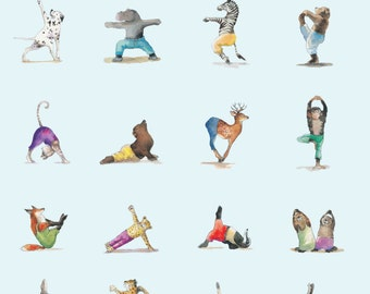 Yoga Positions Asana Poster Animal Accessories Gift For Lovers Water Color Wall Art