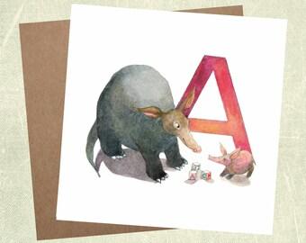 Abc greeting cards etsy abc cards alphabet cards letter a aardvark card nursery decor animal alphabet baby gift greeting card childrens card nursery art m4hsunfo