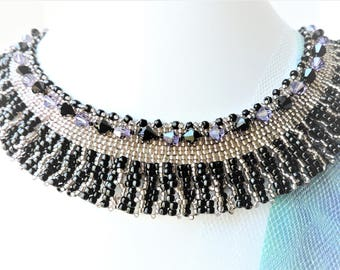 Beaded Necklace Black and Purple Bib Necklace