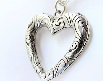 Heart Pendant Necklace/Long Chain Sterling Silver