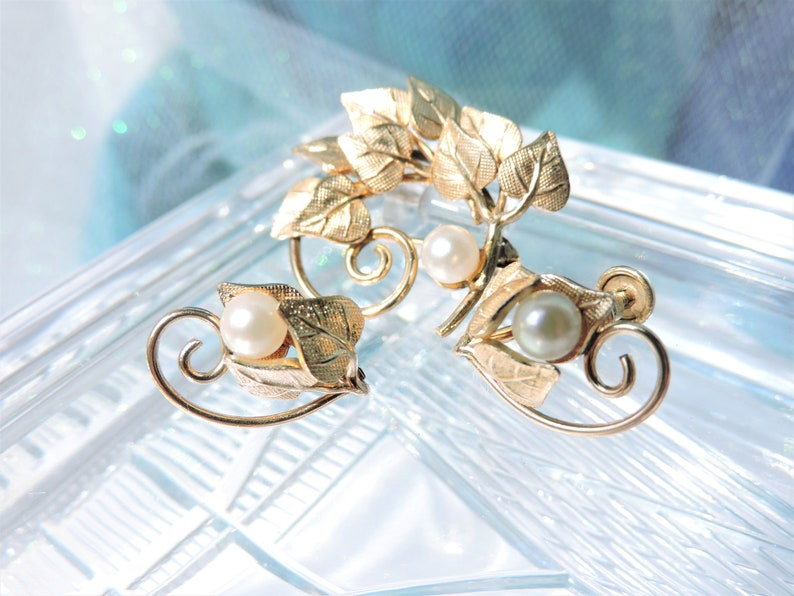 Leaf and Pearl Brooch with Matching Screw on Earrings
