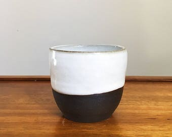 handmade white and dark brown cup/planter