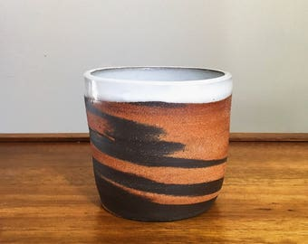 marbled dark brown and red clay ceramic planter