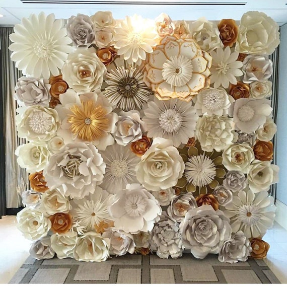 Paper Flower Wall, custom and handmade to order. 8X 10 Can be made in any color combo and any flower combo!