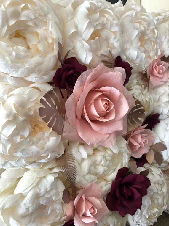 Paper flower wall backdrop 8x10