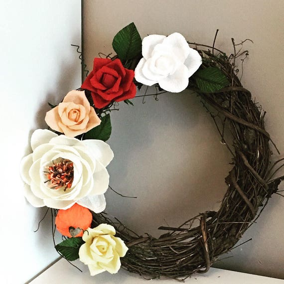 Fall wreath with paper flowers
