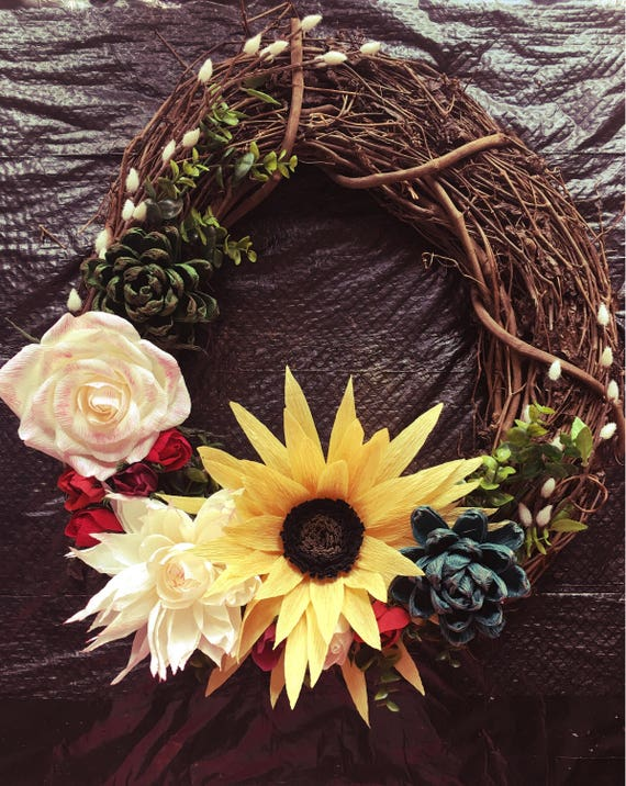 Fall wreath, custom made with crepe paper flowers