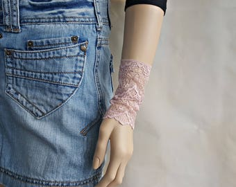 Set of 2 bracelets Wrist band lace cuff Stretch cuff bracelets Tattoo cover up Boho cuff Lace mittens Friend gift Lace jewelry B2238
