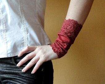 Wine lace bracelet cuff Bracelet set Stretch lace bracelet Tattoo cover up Lace mittens Lace wristband Wrist warmers lace Hair ties B1092