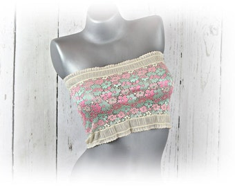 Cami Cover Tube Top Lace Bandeau Top Pink Mint Floral Stretch Lace Sheer Lingerie Camisole Lace Strapless Bra See through lingerie B1301