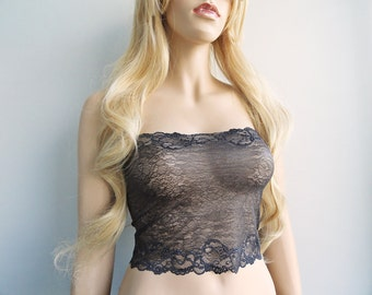 Gray Lace Bandeau Top Cami Cover Floral Stretch Lace Tube Top Strapless Lace Camisole See Through Lingerie B2524