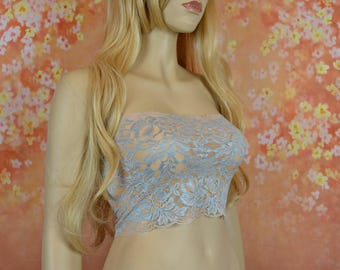Blue Tube Top Strapless Lace Bandeau Top Floral Lace Camisole See Through Lingerie Cami Cover, B7114