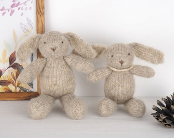 Knitted Bunny Rabbit soft toy, waldorf toy bunny, newborn photo prop, knit baby toys, newborn photography prop, newborn baby shower gift