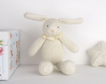 Soft bunny rabbit - knit newborn toys, waldorf toy bunny, newborn photo prop, newborn photography prop, baby knitted toy, baby shower gift