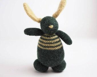 Bunny rabbit knitted toy, waldorf toy, soft bunny, toddler toy handmade, wool toy bunny, knit toy bunny, crochet toy, amigurumi bunny