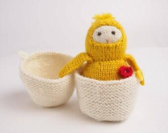 Soft toy yellow bird, Waldorf knitted toy, plush bird, little bird toy, kids gift, nursery decor