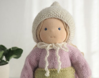"Reserved for Daniela - Waldorf doll Duniasha 10"", waldorf toy, steiner doll, cloth doll waldorf handmade, hand knitted doll"